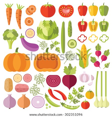 Vegetables flat icons set. Colorful flat design concepts for web banners, web sites, printed materials, infographics