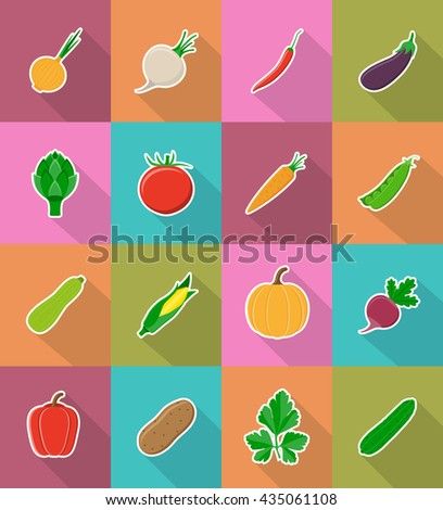 vegetables flat icons with the shadow vector illustration isolated on background