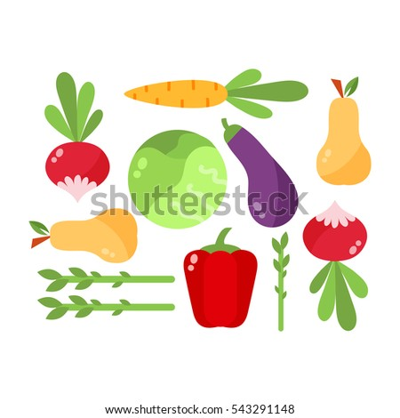 Vegetables food cellulose vector set. #543291148