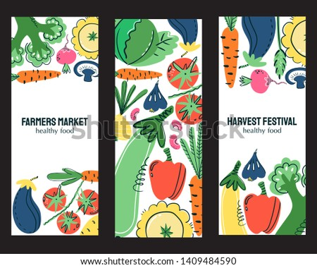 Vegetables food hand drawn banner set. Healthy meal, diet, nutrition or lifestyle. Organic food restaurant and support farmers market concept. Vegetables in composition with the place for your text.