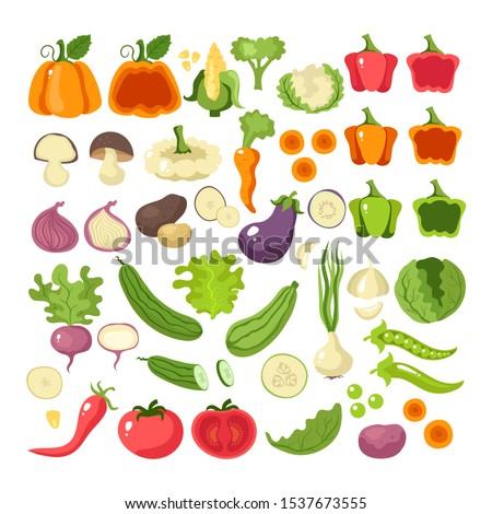 Vegetables food slice icon set collection concept. Vector flat cartoon graphic design illustration