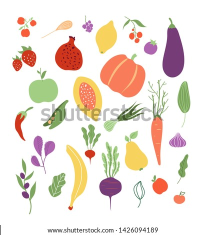 Vegetables fruit. Fruits vegetable food healthy logo vegetal meal clipart isolated set. Vector pumpkin and lemon, pea and banana, beet and carrot illustration #1426094189