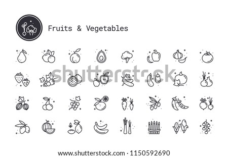 Vegetables, fruits, berries thin line vector icons. Fruit orchard, farm harvest, growing fruit and veg crops pictograms. Design elements for web interface and mobile app isolated on white background.