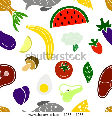 Vegetables fruits fish and meat - seamless pattern. Food #1285441288