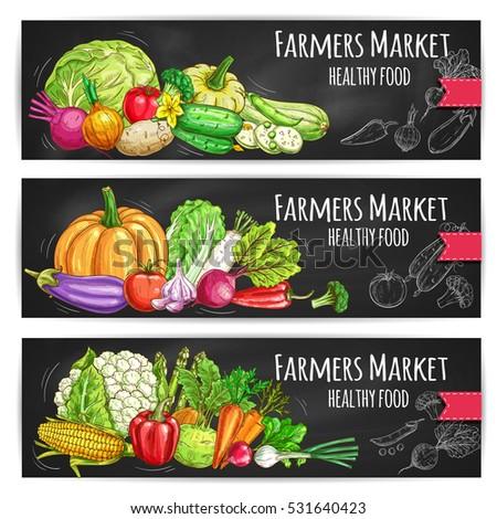 Vegetables healthy food banners with cabbage, cauliflower, pumpkin, pepper, cucumber, garlic, eggplant, beet, corn, asparagus, onion, radish, tomato, peas, broccoli, carrot, cauliflower #531640423