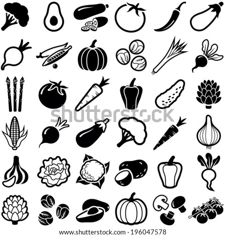 Vegetables icon collection - vector illustration