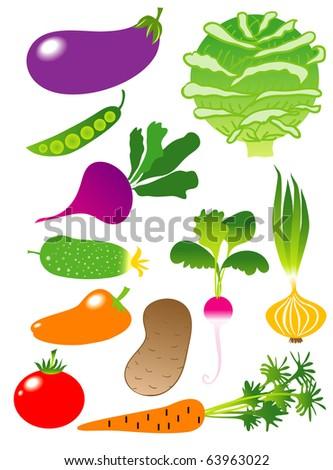 Vegetables icon set #63963022