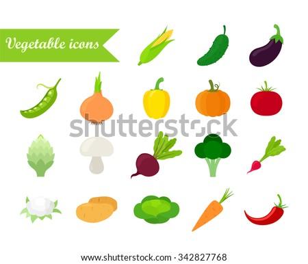 Vegetables icon set. Flat design. Isolated on white background. Vector illustration. #342827768