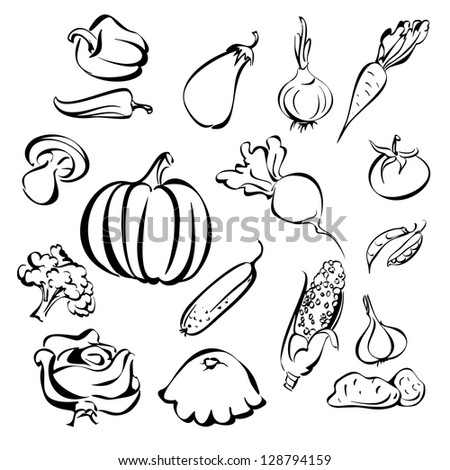 vegetables icon set sketch vector illustration