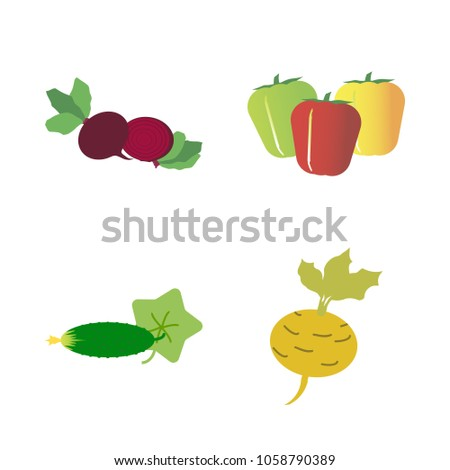 Vegetables icon set with 4 about beet, green, bell peppers, cucumber, yellow and turnip