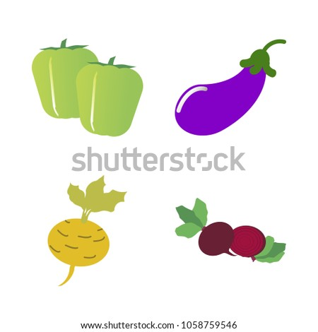Vegetables icon set with 4 about eggplant, pepper, beet, yellow, red and aubergine