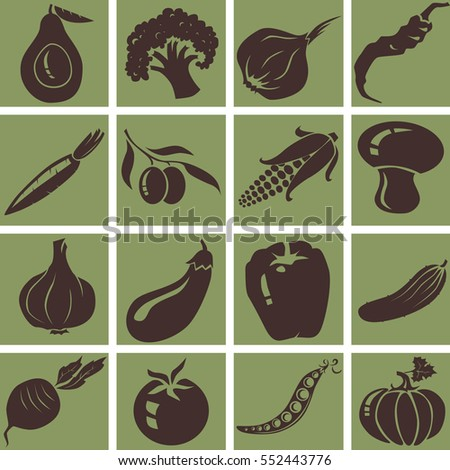Vegetables icons. Isolated vector illustration.