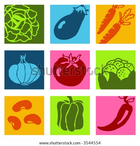 Vegetables icons 1 - others of same series : http://www.shutterstock.com/lightboxes.mhtml?lightbox_id=499012