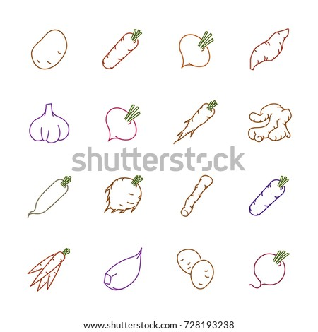 Vegetables icons - Potato, carrot and garlic #728193238