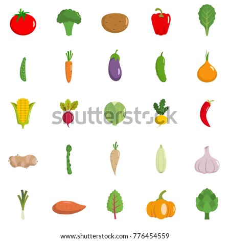 Vegetables icons set. Flat illustration of 25 vegetables vector icons isolated on white background