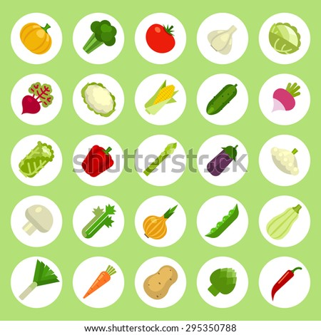 Vegetables Icons set on flat style White Background
