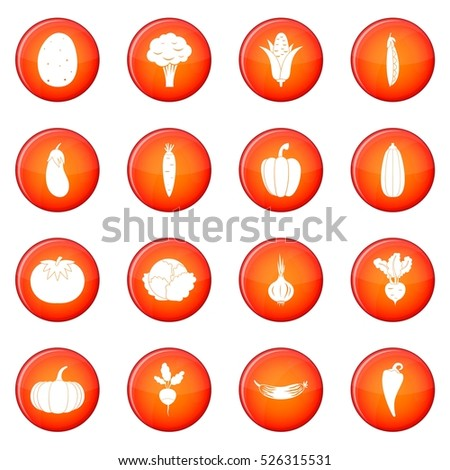 Vegetables icons vector set of red circles isolated on white background #526315531