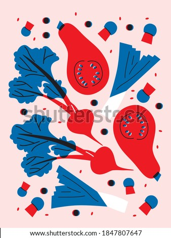 Vegetables in flat vector trendy style. Abstract pumpkin, beets, greens, mushrooms, onions, spinach. Red, blue art. Still life cartoon illustration for advertising farmers market. Autumn harvest