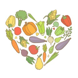 Vegetables in the shape of heart. Vector illustration isolated on white background