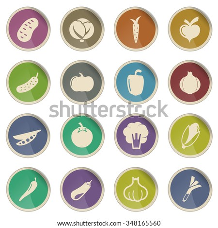 Vegetables label icons for web