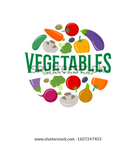 Vegetables logo. Vegetarian organic products. Organic and dairy fresh food emblem. Healthy food. Carrots, beets, olives, cucumber, mushrooms, tomatoes, broccoli, pepper, eggplant and onions.