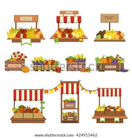 vegetables market stands set of