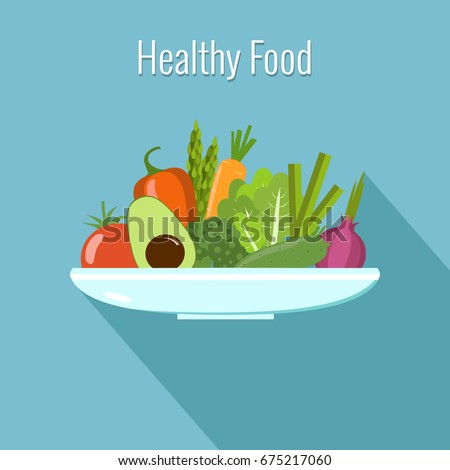Vegetables on a plate. Healthy food vector illustration. #675217060