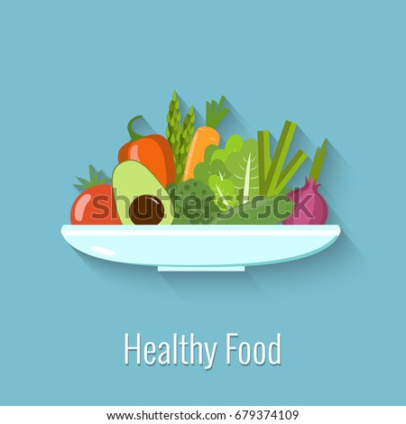 Vegetables on a plate. Healthy food vector illustration.