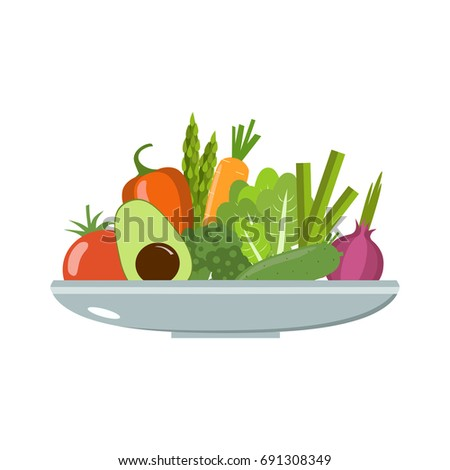 Vegetables on a plate. Healthy food vector illustration. #691308349