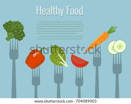 Vegetables on forks. Healthy food vector illustration.
