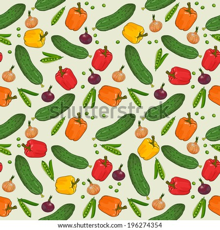 Vegetables pattern in vector, seamless pattern background #196274354