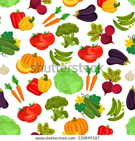 Vegetables pattern of pumpkin, cucumber, beet, tomatoes, carrot, peas, pepper, cabbage, eggplant, garlic, broccoli. Vector seamless pattern background of vegetarian vegetables. #530899507