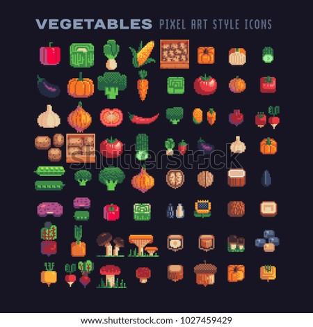 vegetables pixel art icons set