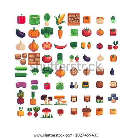 vegetables pixel art icons set