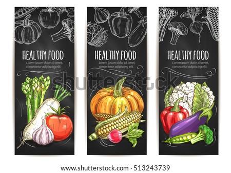 Vegetables posters set. Vegetarian healthy food of vector chalk sketch veggie asparagus, daikon radish, tomato, pumpkin, corn, cauliflower cabbage, garlic, pepper, eggplant, broccoli #513243739