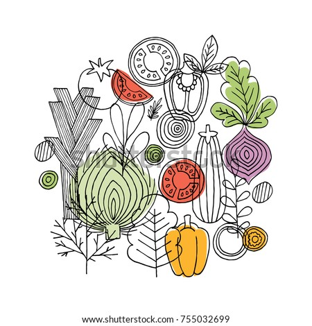 Vegetables round composition. Linear graphic. Vegetables background. Scandinavian style. Healthy food. Vector illustration