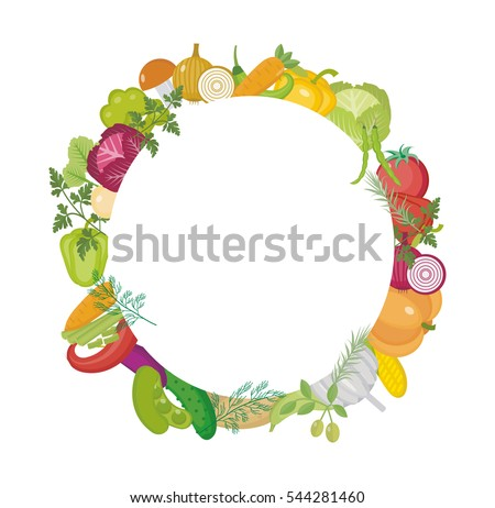 vegetables round frame with