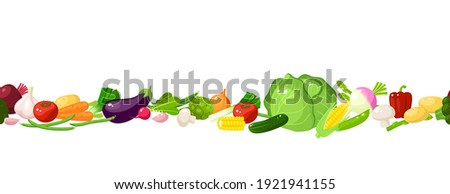 Vegetables seamless horizontal composition. Template for packaging label design. Vector illustration cartoon flat icon collection on white.