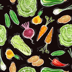 Vegetables seamless pattern. Fresh vegetarian healthy food. Eco farmer vegetables pattern, potato, carrot, cabbage, pepper. Healthy nutrition