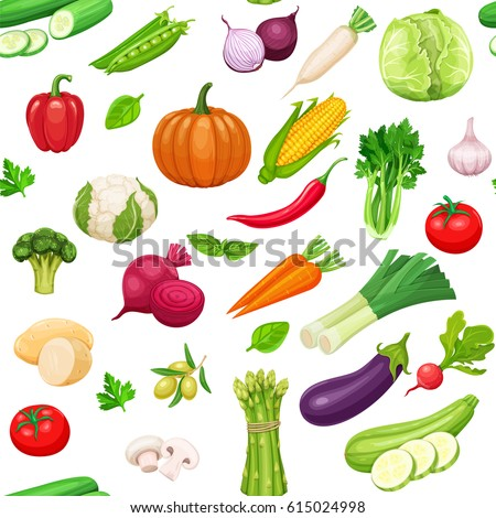 Vegetables seamless pattern. Healthy food vector background. #615024998