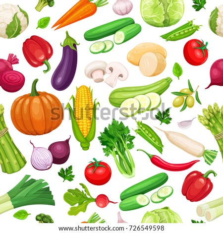Vegetables seamless pattern. Healthy food vector background. #726549598