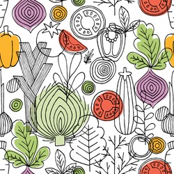 Vegetables seamless pattern. Linear graphic. Vegetables background. Scandinavian style. Healthy food pattern. Vector illustration