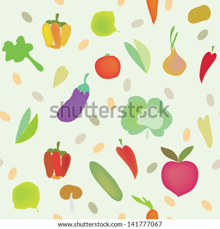 Vegetables seamless pattern with greens #141777067