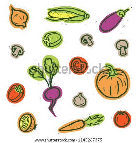 Vegetables set. Vegetables isolated. Vector vegetables. #1145267375