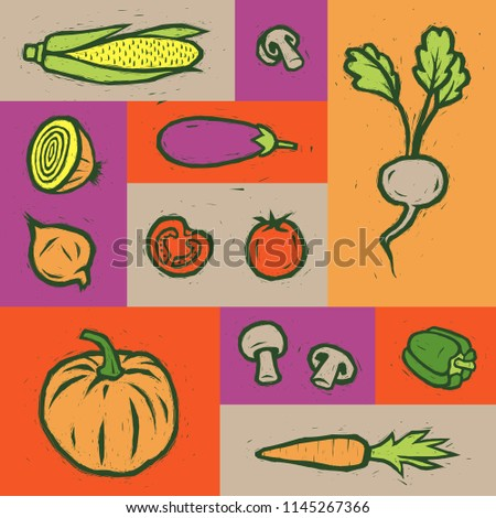 Vegetables set. Vegetables poster. Vector vegetables. #1145267366