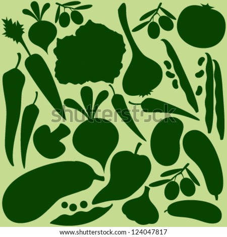 vegetables silhouette on light green seamless pattern