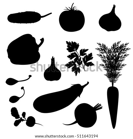 Vegetables silhouettes (cucumber, tomato, onion, paprika, parsley, carrot, capers, garlic, aubergine, radish, beet). Set of hand drawn vector illustrations.