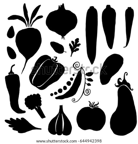 Vegetables silhouettes on white background. Hand drawn vector illustrations in trendy organic modern style for menu, packaging design.