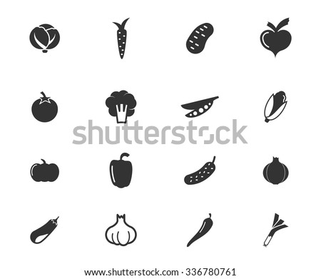 Vegetables simply symbols for web icons