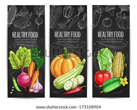 Vegetables sketch banners. Vegetarian healthy food menu on chalkboard. Vector beet and carrot, garlic, pea and pumpkin, zucchini and chili pepper, cabbage, cucumber, tomato, corn
